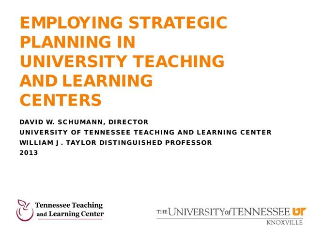 Employing Strategic Planning at University T&L Centers