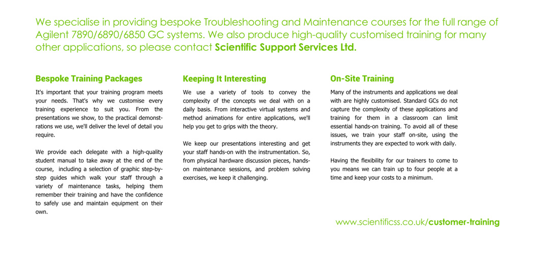 Scientific Support Services Customer Training