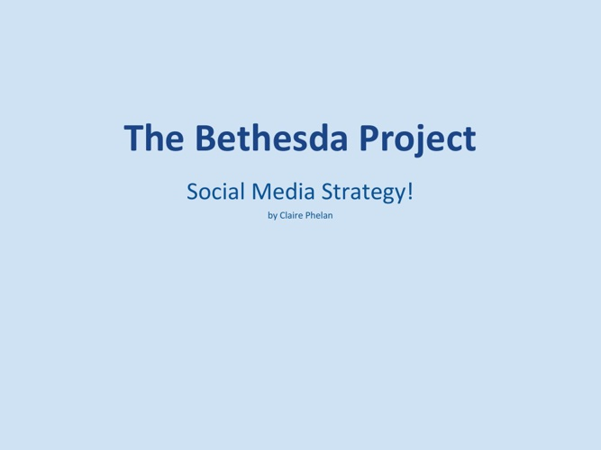 The Bethesda Project: Social Media Strategy