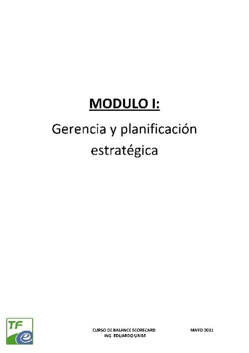 MODULO I: GERENCIA Y PLANIFICACION ESTRATEGICA
