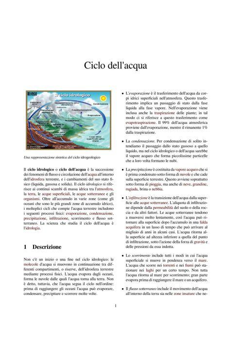 Ciclo dell'acqua prova