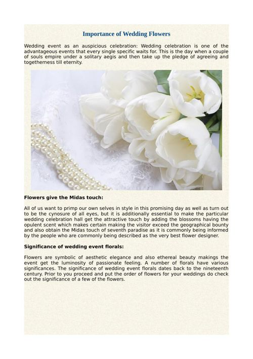 Importance of Wedding Flowers