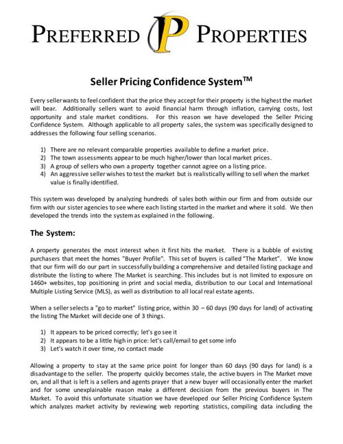 Preferred Properties Seller Pricing Confidence System 2015