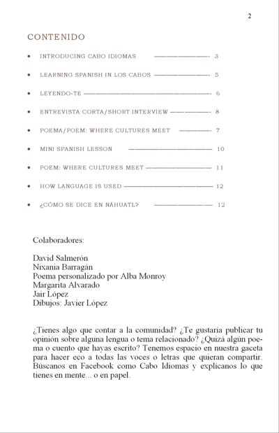Introducing the new language gazette in Cabo