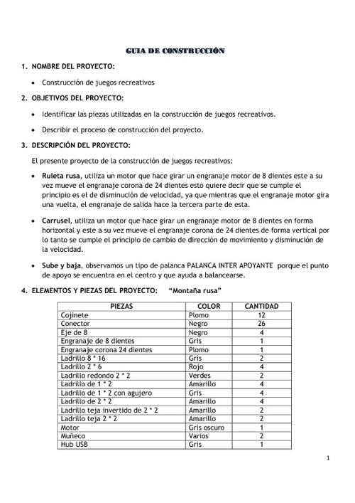 FICHA DE CONSTRUCCIÓN - CARRUSEL