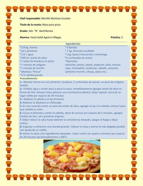 Vania Aguirre recetario 2 unidad