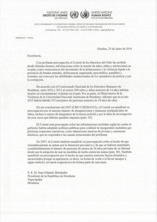 Carta del Comite de los Derechos del Niño