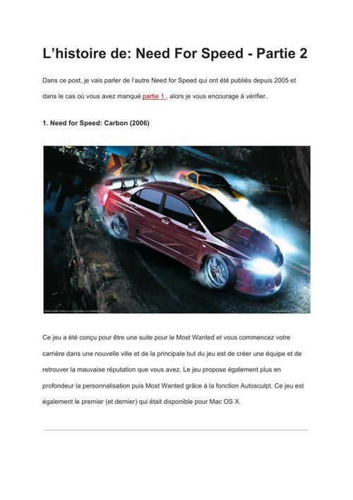 [FR] The History Of- Need For Speed – Part 2