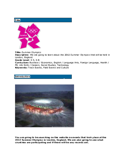 2012 Olympic Webquest