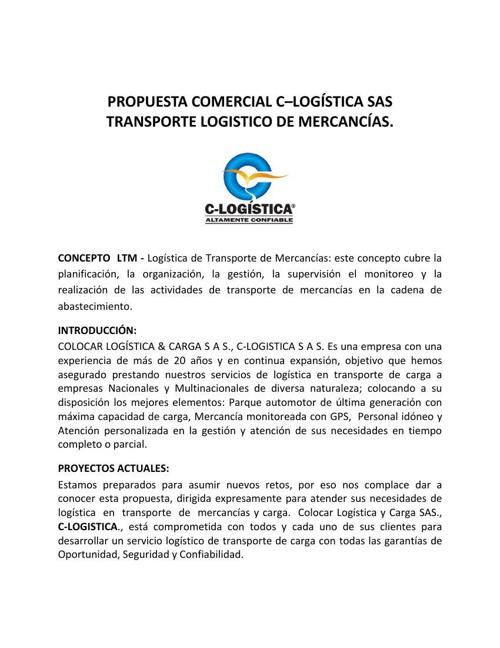 C-LOGISTICA SAS. PROPUESTA COMERCIAL PARA EMPRESAS