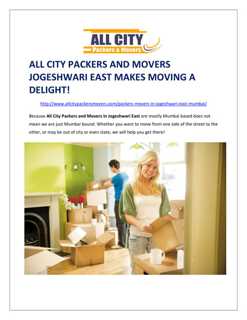 All City Packers and Movers Jogeshwari East