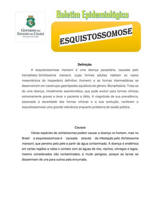 Boletim Epidemiológico da doença Esquistossomose.