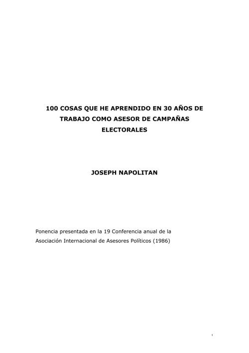 100 cosas que aprendí en campañas electorales - joseph napolitan