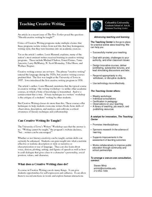 Teaching Creative Writing
