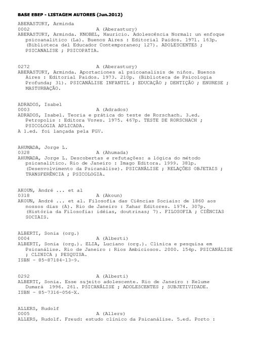 Lista de autores - Biblioteca EBEP 2012
