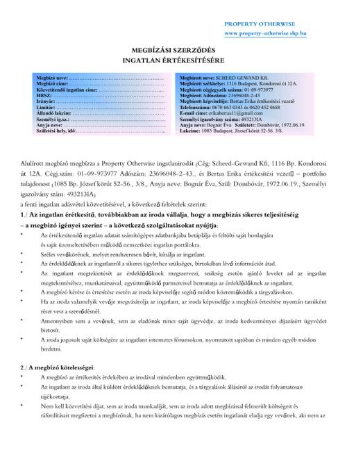 Contract as to property sale / Szerződes minta eladáshoz