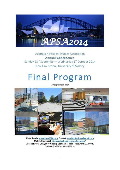 APSA2014 Final Program