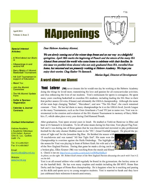 HAppenings - April 2011