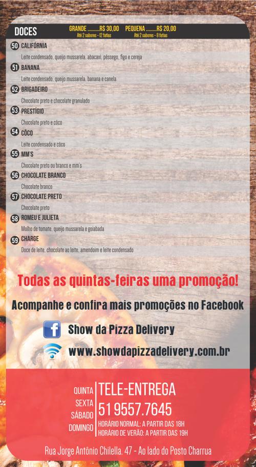 CARDAPIO SHOW DAS PIZZAS