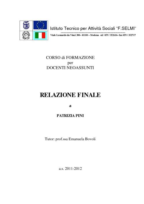 RELAZIONE FINALE dell'ANNO di PROVA di PATRIZIA PINI