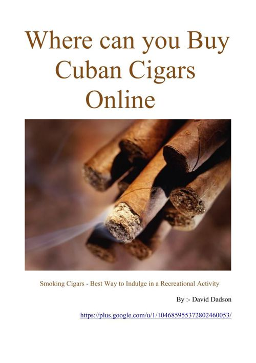 Where can you Buy Cuban Cigars Online