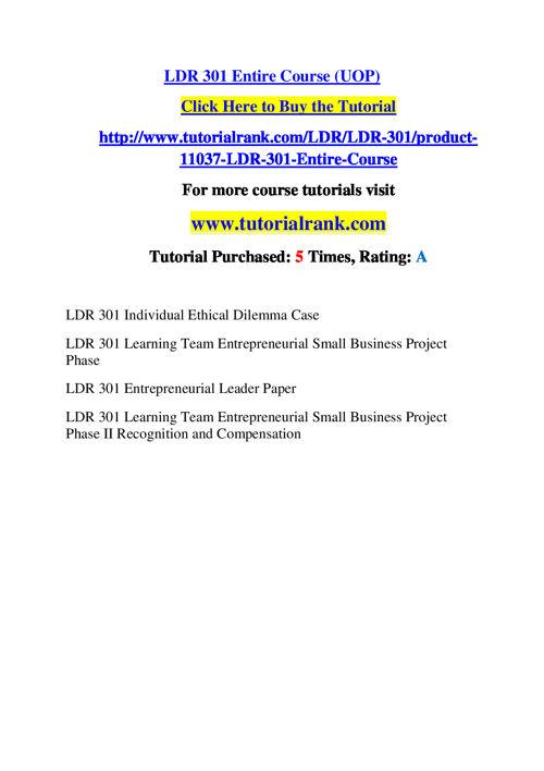 LDR 301 Course Success Begins / tutorialrank.com