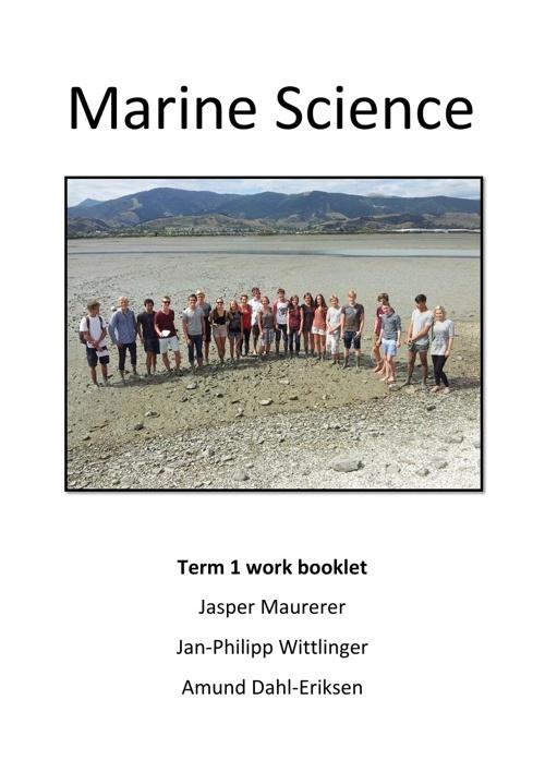 Marine Science Term one booklet Japser, JP, Amund