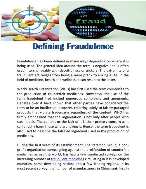 Defining Fraudulent