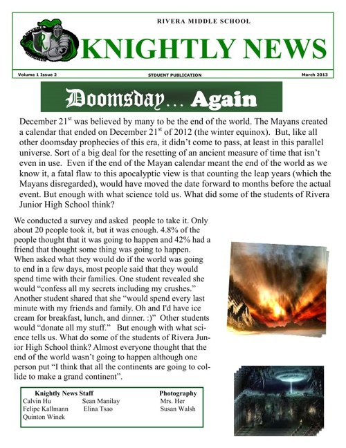 Knightly News Volume 1 Issue 2