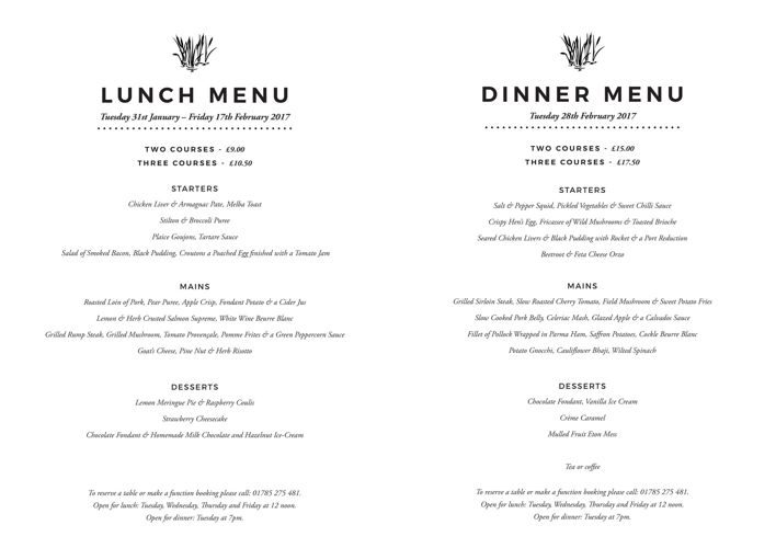 February Riverbank Menu