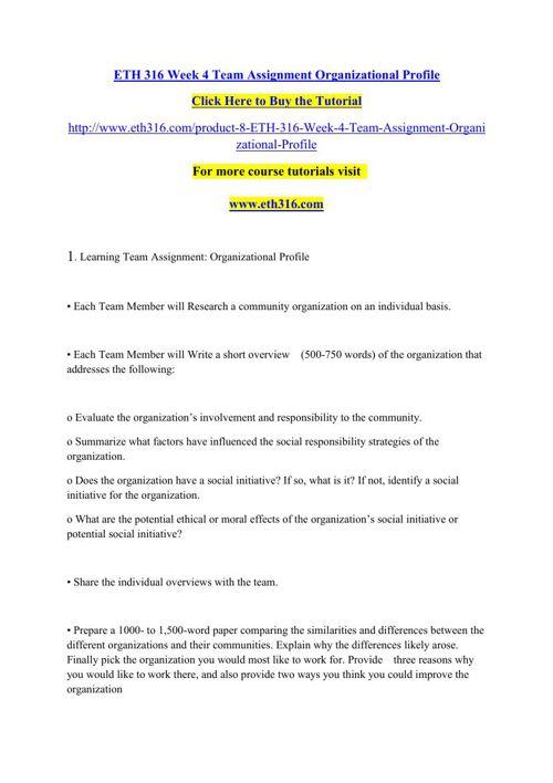 ETH 316 Week 4 Team Assignment Organizational Profile