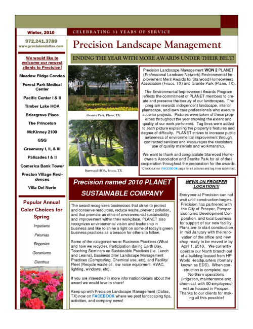 Precision Landscape Newsletters 2010