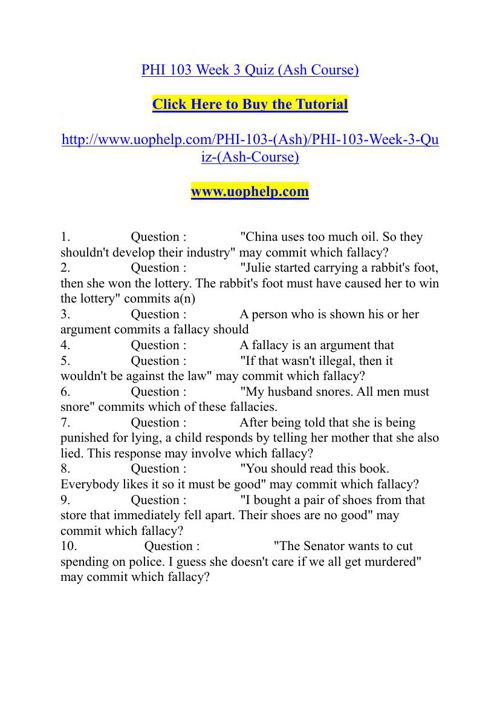 phi 103 informal logic Study flashcards on phi 103 entire course informal logic ( new course january 2014 ) at cramcom quickly memorize the terms, phrases and much more cramcom makes it easy to get the grade you want.