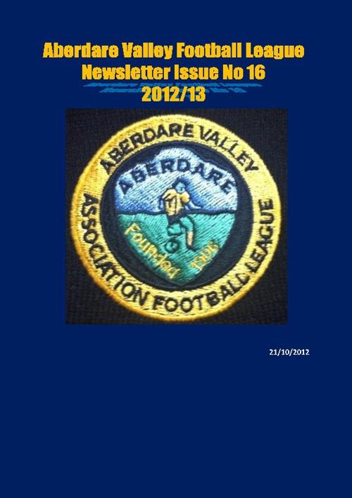 ABERDARE VALLEY FOOTBALL LEAGUE NEWSLETTER ISSUE 16
