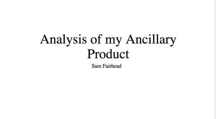 Analysis of Ancillary Product