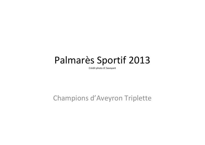 Palmarès sportif saison 2013