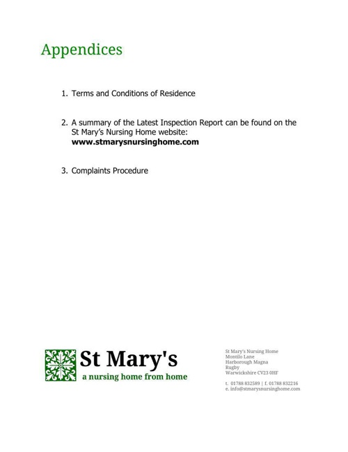 St Mary's Nursing Home Information Pack: Appendices