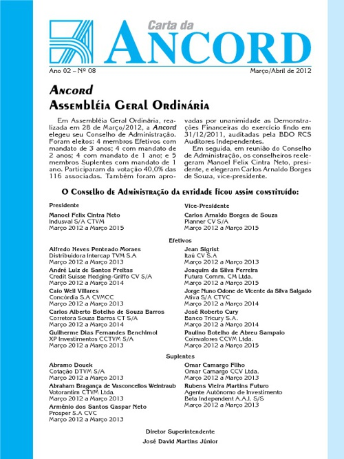 Carta ANCORD Março/Abril - 2012