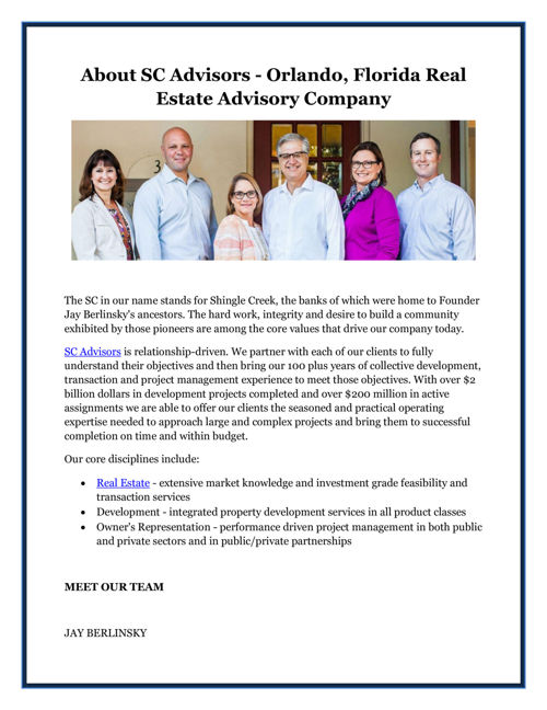 About SC Advisors - Orlando, Florida Real Estate Advisory