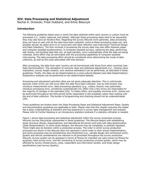 CCSG - 14. Data Processing and Statistical Adjustment
