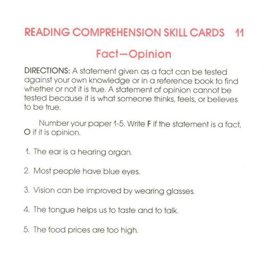 Reading Skills - Fact/Opinion