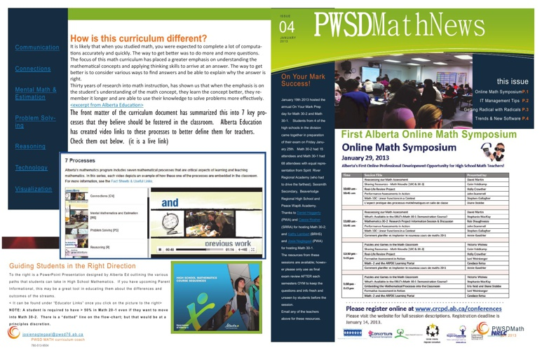 PWSD Math News January 2013