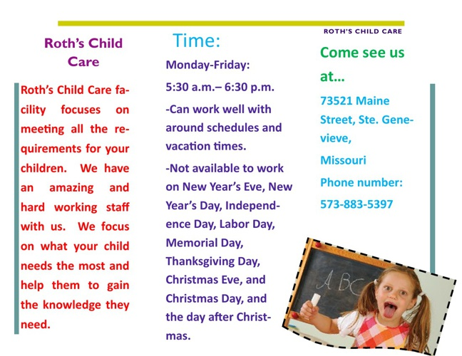 Roth's Child Care- Rachel Roth