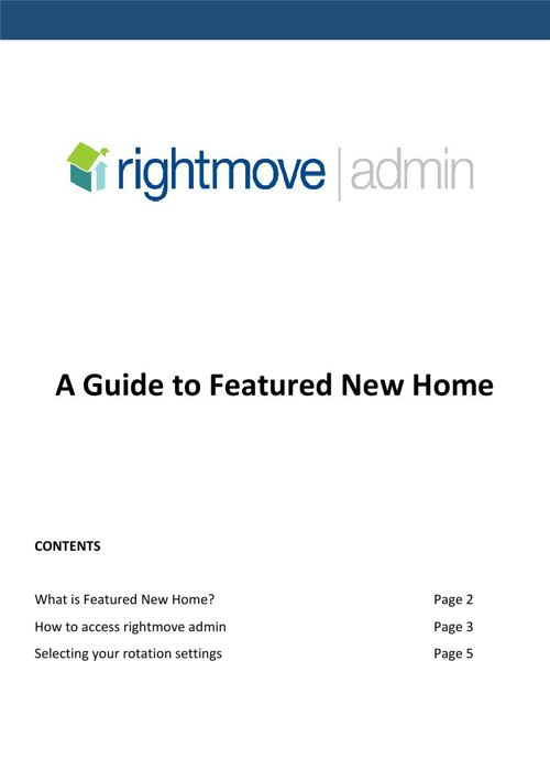 A Guide to Featured New Home - Rightmove Admin