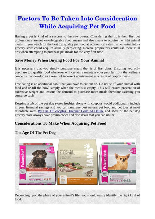 Factors To Be Taken Into Consideration While Acquiring Pet Food