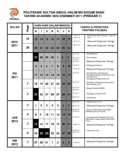 TAKWIM AKADEMIK POLIMAS 2011/2012 PINDAAN 1