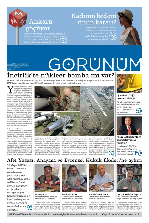 Görünüm 109 – Eylül 2012