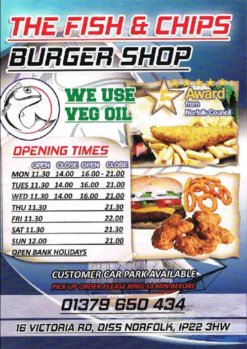 The Fish and Chips Burger Shop Menu