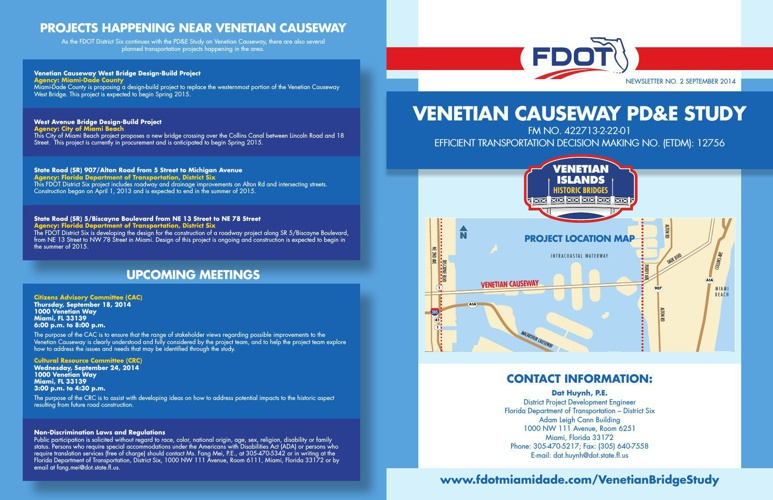 FDOT District Six Venetian Causeway PD&E Study Project Newslette