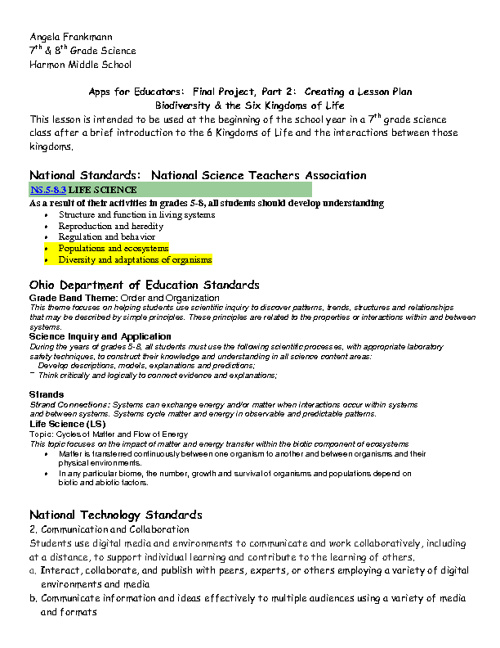 Apps for Educators--August 2012 Lesson Plan